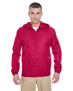 Red Adult 1/4-Zip Hooded Pullover Pack-Away Jacket