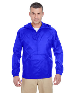 Royal Adult 1/4-Zip Hooded Pullover Pack-Away Jacket