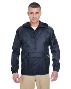 True Navy Adult 1/4-Zip Hooded Pullover Pack-Away Jacket