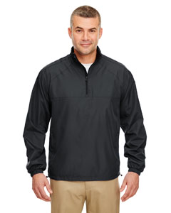 Black Adult Micro-Poly 1/4-Zip Windshirt