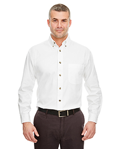 White Adult Cypress Long-Sleeve Twill with Pocket