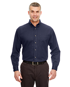Navy Adult Cypress Long-Sleeve Twill with Pocket