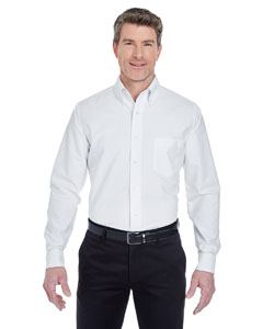 White Men's Classic Wrinkle-Resistant Long-Sleeve Oxford