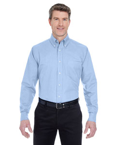 Light Blue Men's Classic Wrinkle-Resistant Long-Sleeve Oxford