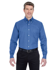 French Blue Men's Classic Wrinkle-Resistant Long-Sleeve Oxford