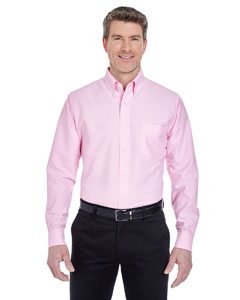 Pink Men's Classic Wrinkle-Resistant Long-Sleeve Oxford