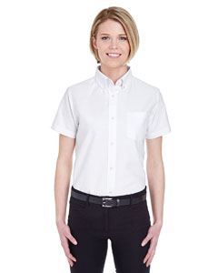White Ladies' Classic Wrinkle-Resistant Short-Sleeve Oxford
