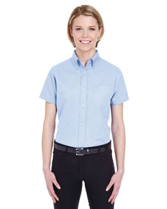 Light Blue Ladies' Classic Wrinkle-Resistant Short-Sleeve Oxford
