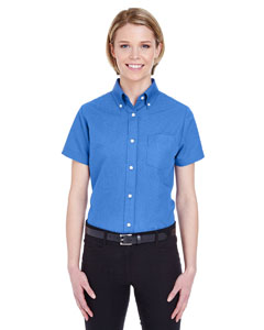 French Blue Ladies' Classic Wrinkle-Resistant Short-Sleeve Oxford
