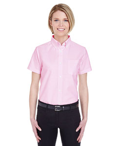 Pink Ladies' Classic Wrinkle-Resistant Short-Sleeve Oxford