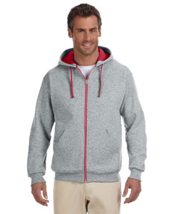 Oxford/true Red 8 oz., 50/50 NuBlend® Contrast Full-Zip Hood