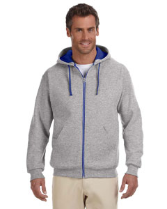 Oxford/royal 8 oz., 50/50 NuBlend® Contrast Full-Zip Hood