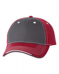 Charcoal/ Garnet Tri-Color Cap