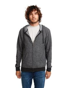 Black Unisex Denim Fleece Full-Zip Hoodie