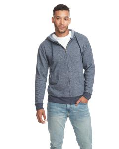 Midnight Navy Unisex Denim Fleece Full-Zip Hoodie