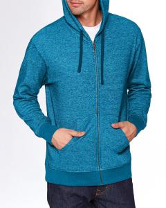 Turquoise Unisex Denim Fleece Full-Zip Hoodie