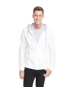 White/ Hthr Gray Adult French Terry Zip Hoody