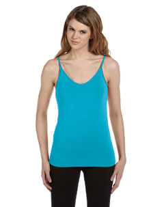 Turquoise Women's Cotton/Spandex Shelf Bra Tank