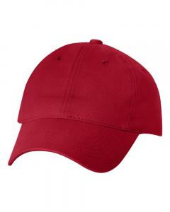 Red Heavy Brushed Twill Unstructured Cap