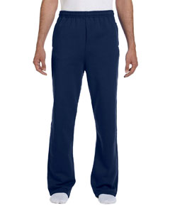 J Navy 8 oz., 50/50 NuBlend® Open-Bottom Sweatpants