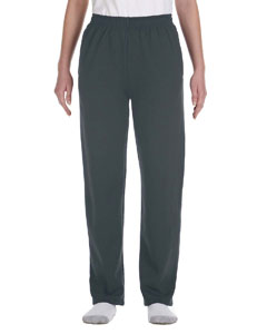 Black Heather Youth 8 oz., NuBlend® Open-Bottom Fleece Sweatpants