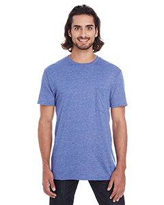Heather Blue Adult Lightweight Pocket Tee