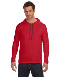 Red/ Dark Grey Adult Lightweight Long-Sleeve Hooded T-Shirt