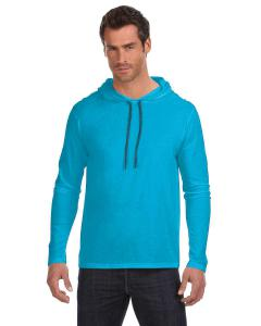 Carib Blue/ D Gr Adult Lightweight Long-Sleeve Hooded T-Shirt