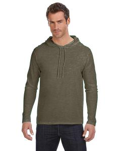 Ht Cty Grn/ D Gr Adult Lightweight Long-Sleeve Hooded T-Shirt