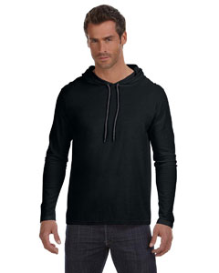 Black/dark Grey Ringspun Long-Sleeve Hooded T-Shirt