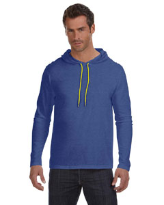 Hth Blu/neon Yel Ringspun Long-Sleeve Hooded T-Shirt