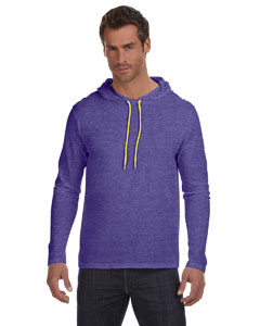 Hth Purp/neo Yel Ringspun Long-Sleeve Hooded T-Shirt