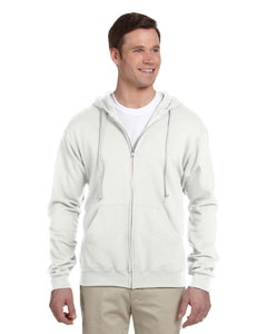 White Adult 8 oz. NuBlend® Fleece Full-Zip Hood