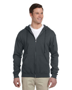 Black Heather Adult 8 oz. NuBlend® Fleece Full-Zip Hood