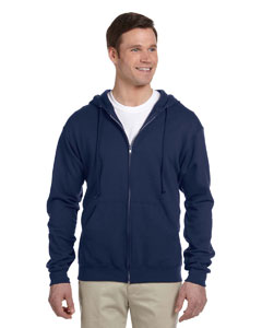 J Navy Adult 8 oz. NuBlend® Fleece Full-Zip Hood