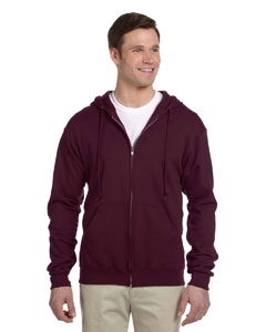 Maroon Adult 8 oz. NuBlend® Fleece Full-Zip Hood