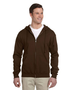 Chocolate Adult 8 oz. NuBlend® Fleece Full-Zip Hood