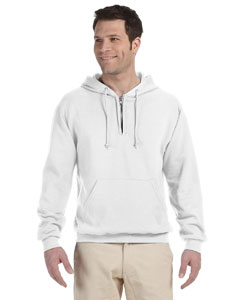 White Adult 8 oz. NuBlend® Fleece Quarter-Zip Pullover Hood
