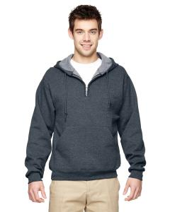 Black Heather Adult 8 oz. NuBlend® Fleece Quarter-Zip Pullover Hood