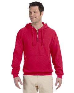 True Red Adult 8 oz. NuBlend® Fleece Quarter-Zip Pullover Hood