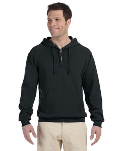 Black Adult 8 oz. NuBlend® Fleece Quarter-Zip Pullover Hood