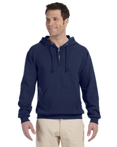 J Navy Adult 8 oz. NuBlend® Fleece Quarter-Zip Pullover Hood
