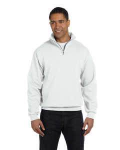 White Adult 8 oz. NuBlend® Quarter-Zip Cadet Collar Sweatshirt
