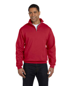 True Red Adult 8 oz. NuBlend® Quarter-Zip Cadet Collar Sweatshirt