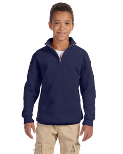 J Navy Youth 8 oz., 50/50 NuBlend® Quarter-Zip Cadet Collar Sweatshirt