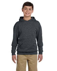 Black Heather Youth 8 oz., 50/50 NuBlend® Fleece Pullover Hood