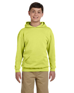 Safety Green Youth 8 oz., 50/50 NuBlend® Fleece Pullover Hood
