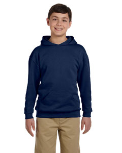 J Navy Youth 8 oz., 50/50 NuBlend® Fleece Pullover Hood