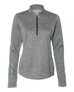 Mid Grey Heather/ Black Ladies' 3-Stripes Heather Quarter-Zip