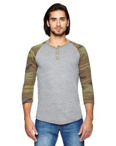 Eco Grey/ Camo Men's Eco-Jersey 3/4-Sleeve Raglan Henley